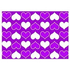 Purple and White Hearts Pattern Invitations