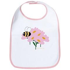 Triplet Bee Pink Flowers Bib