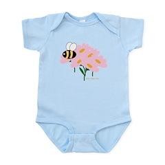 Triplet Bee Pink Flowers Infant Bodysuit