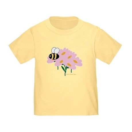 Triplet Bee Pink Flowers Toddler T-Shirt