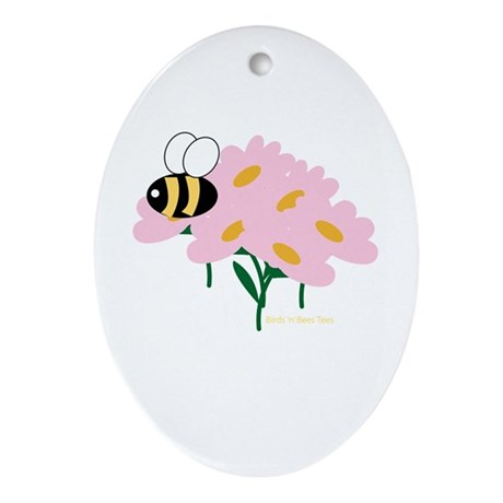 Triplet Bee Pink Flowers Oval Ornament