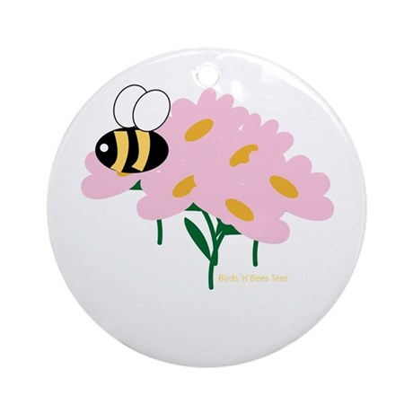 Triplet Bee Pink Flowers Ornament (Round)