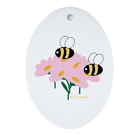 Twin Bees on Flowers Oval Ornament
