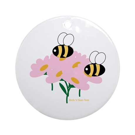 Twin Bees on Flowers Ornament (Round)