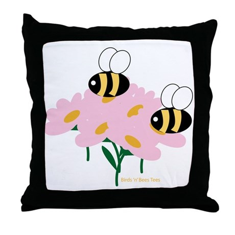 Twin Bees on Flowers Throw Pillow