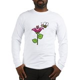 Cute Silly Bee With Flower Long Sleeve T-Shirt
