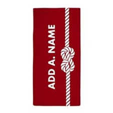 Red and White Rope Stripes Custom Beach Towel