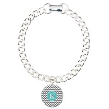 Gray and Turquoise Chevr Bracelet