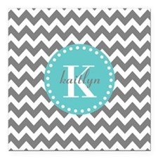 """Gray and Turquoise Chevr Square Car Magnet 3"""" x 3"""""""