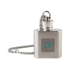 Gray and Turquoise Chevron Custom M Flask Necklace