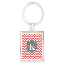 Charcoal Gray and Coral Modern C Portrait Keychain