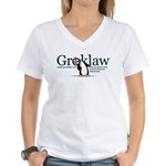 Groklaw Penguin Women's V-Neck T-Shirt