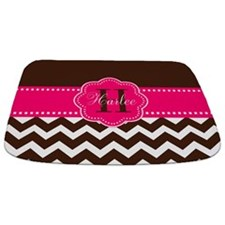 Brown Pink Chevron Personalized Bathmat