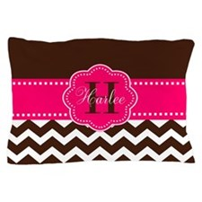 Brown Pink Chevron Personalized Pillow Case