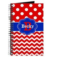 Red Blue Dots Chevron Personalized Journal