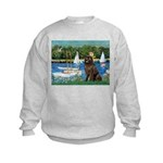 Sailboats & Newfoundland Kids Sweatshirt