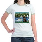 Sailboats & Newfoundland Jr. Ringer T-Shirt