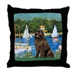 Sailboats & Newfoundland Throw Pillow