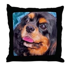Black & Tan Cavalier King Cha Throw Pillow