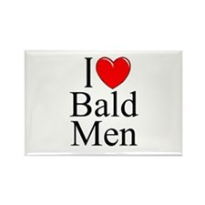 """I Love (Heart) Bald Men"" Rectangle Magnet"