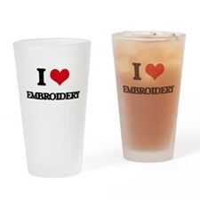 I love Embroidery Drinking Glass