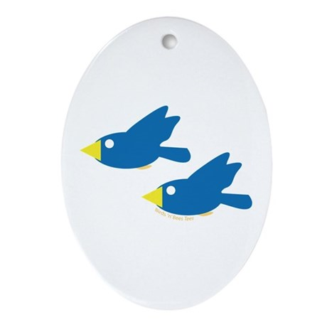 Twin Parent Birds Oval Ornament