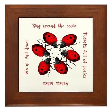 Ladybugs Playing Framed Tile