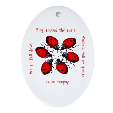 Ladybugs Playing Oval Ornament