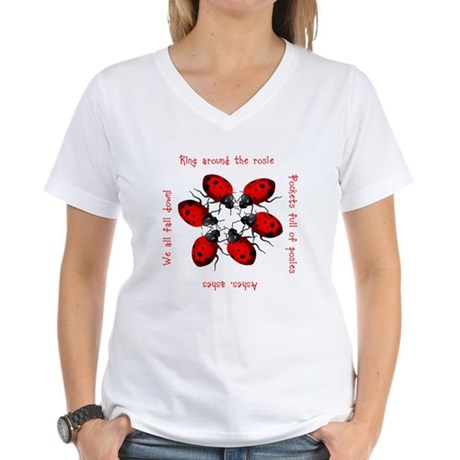 Ladybugs Playing Women's V-Neck T-Shirt