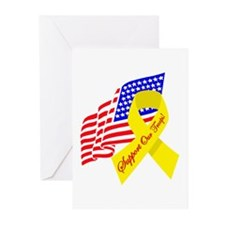 Support Our Troops US Flag Greeting Cards (Package