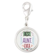 Best Aunt Ever Silver Round Charm