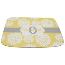 Yellow Gray Floral Personalized Bathmat