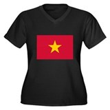 Vietnamese Flag Women's Plus Size V-Neck Dark T-Sh