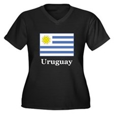 Uruguayan Flag Women's Plus Size V-Neck Dark T-Shi