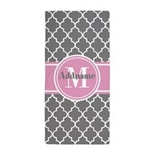Gray and Pink Modern Moroccan Custom M Beach Towel