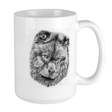 ... Gifts > Akc Breeds Drinkware > Chow Chow Pencil Drawing Large Mug