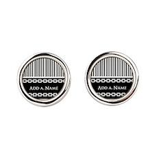 Custom Black and White Stripes Cha Round Cufflinks