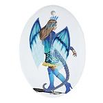 Blue Dragon Lady Ornament (oval)