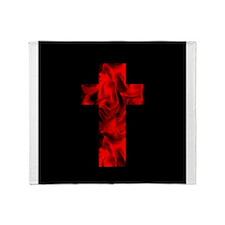 Fire Red Black Catholic Cross Design Throw Blanket