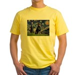 Starry Night Doberman Yellow T-Shirt