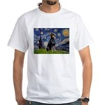 Starry Night Doberman White T-Shirt
