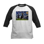 Starry Night Doberman Kids Baseball Jersey