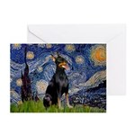 Starry Night Doberman Greeting Cards (Pk of 10)