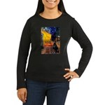 Cafe & Doberman Women's Long Sleeve Dark T-Shirt