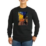 Cafe & Doberman Long Sleeve Dark T-Shirt