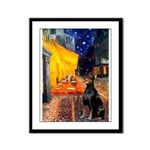 Cafe & Doberman Framed Panel Print