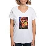 Mandolin Angel & Dobie Women's V-Neck T-Shirt