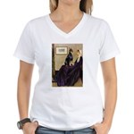 Mom's Doberman (#1) Women's V-Neck T-Shirt