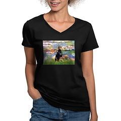 Lilies (#2) & Doberman Women's V-Neck Dark T-Shirt