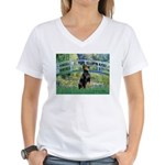 Bridge / Doberman Women's V-Neck T-Shirt